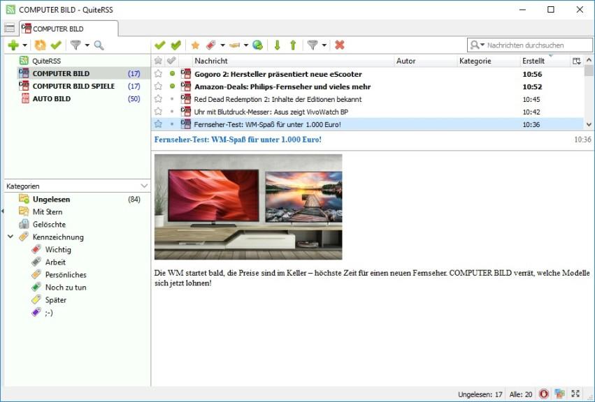 Screenshot 1 - QuiteRSS Portable