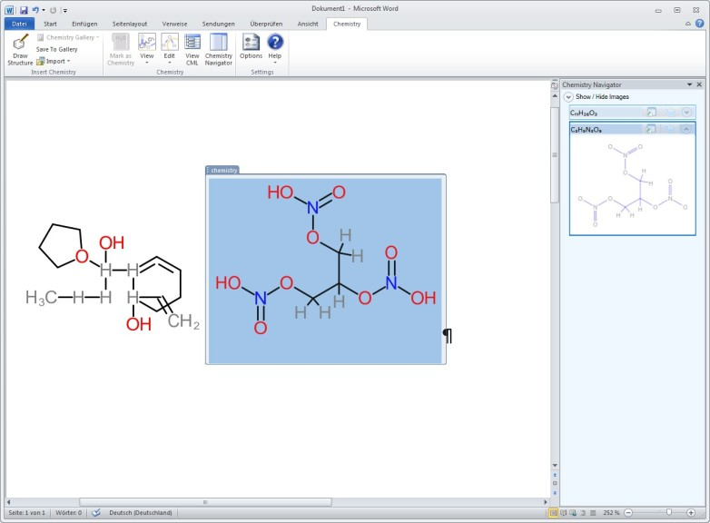Screenshot 1 - Microsoft Chemie Add-in für Word