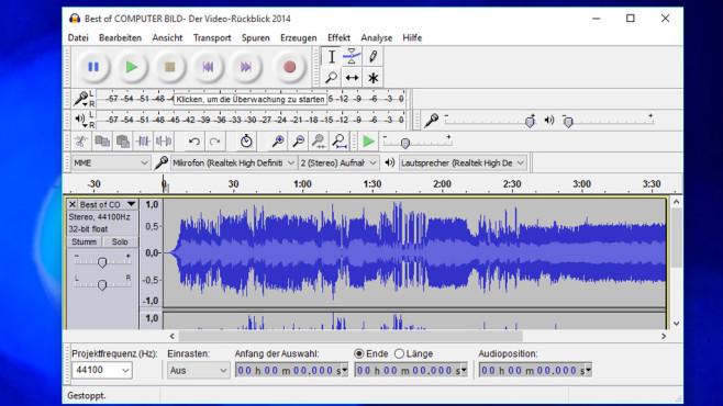 Audacity: Musikdateien kürzen und mehr ©COMPUTER BILD