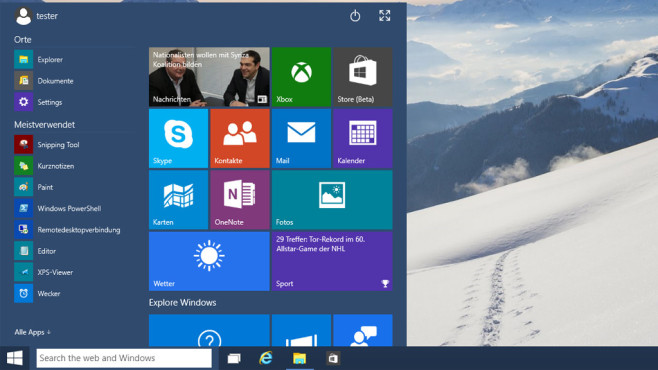 Windows 10 Technical Preview (Beta) ©COMPUTER BILD