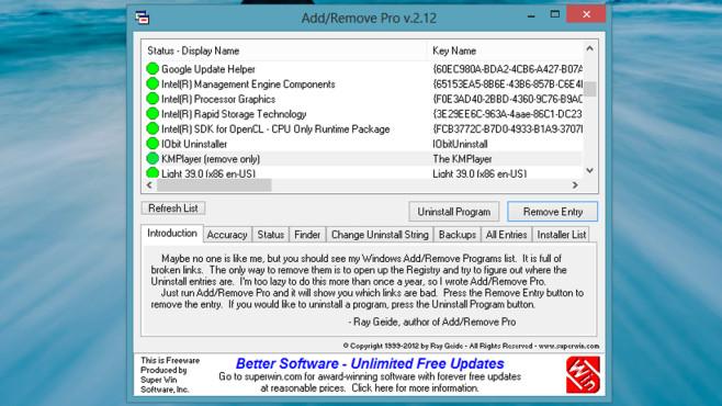Add/Remove Pro: Ungültige Deinstallations-Verweise ausblenden ©COMPUTER BILD