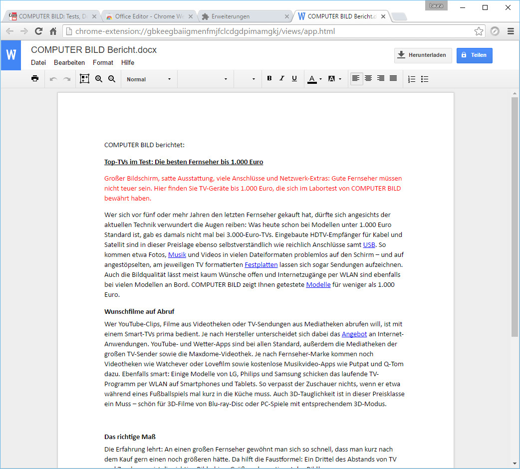 Screenshot 1 - Office Editor für Google Chrome