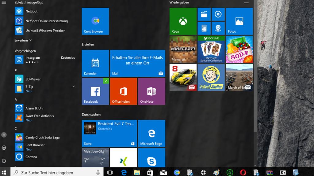 Microsoft Windows 10: Startmenü©COMPUTER BILD