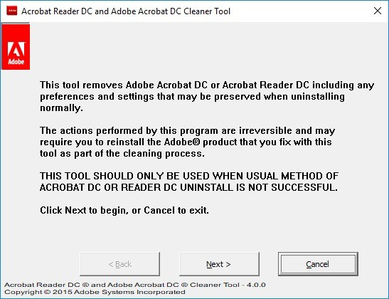 Screenshot 1 - Adobe Reader and Acrobat Cleaner Tool (AcroCleaner)