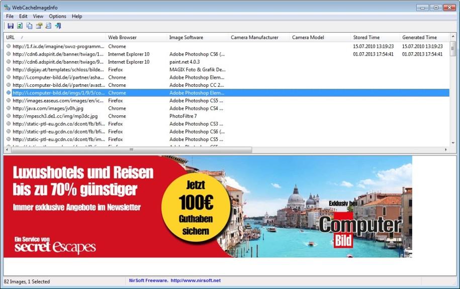 Screenshot 1 - WebCacheImageInfo