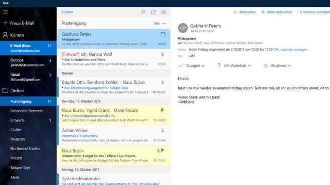Mail und Kontakte (Windows-10-App): Kommunikation tätigen ©COMPUTER BILD