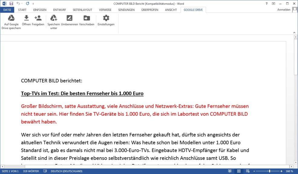 Screenshot 1 - Google Drive Plug-in für Microsoft Office