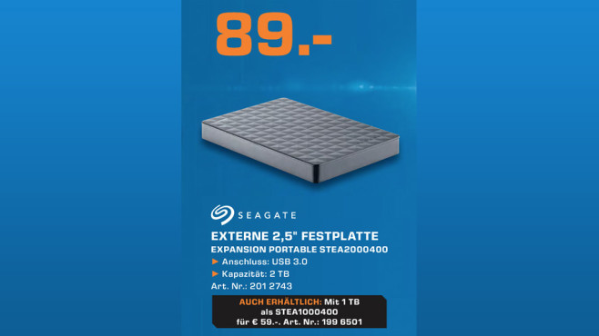 Seagate Expansion Portable STEA2000400 © Saturn