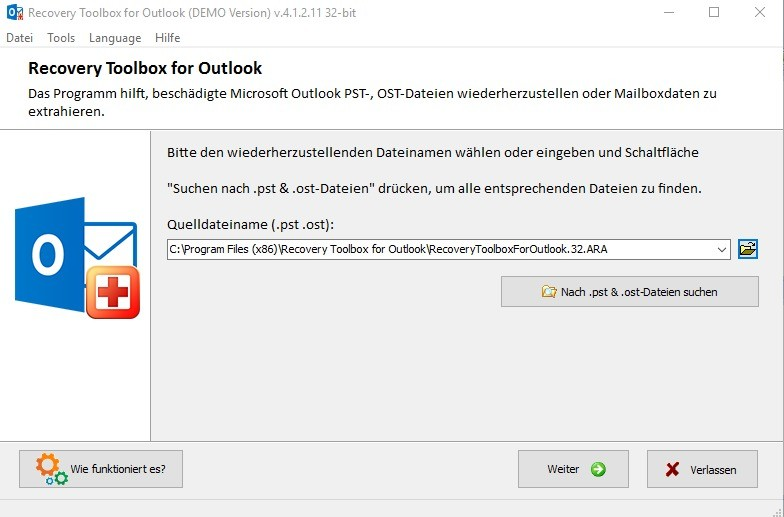 Screenshot 1 - Recovery Toolbox für Outlook