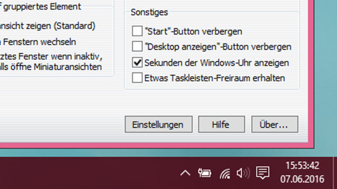 7+ Taskbar Tweaker: Sekundenanzeige für die Taskleiste ©COMPUTER BILD