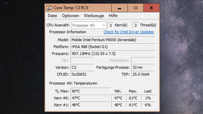 Core Temp: Prozessortemperatur überwachen ©COMPUTER BILD