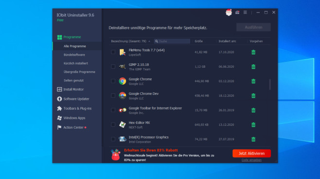 IObit Uninstaller: Mehrere Apps zugleich deinstallieren ©COMPUTER BILD