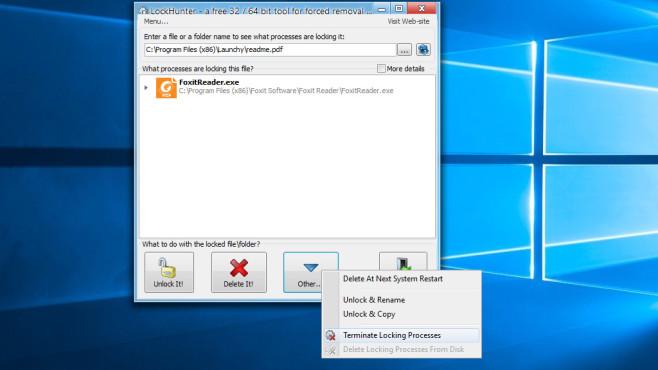Lockhunter: Gesperrte Dateien löschen ©COMPUTER BILD