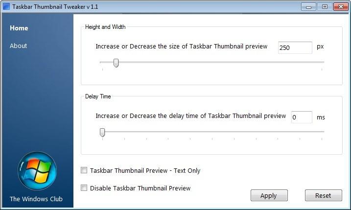 Screenshot 1 - Taskbar Thumbnail Tweaker & Resizer