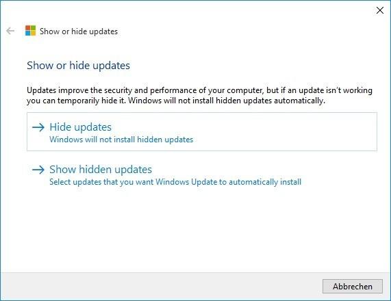Screenshot 1 - Microsoft-Hotfix: Windows-10-Updates ausblenden oder blockieren