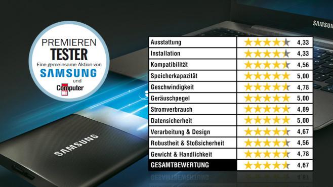 Bewertung Samsung SSD T1©Samsung, COMPUTER BILD