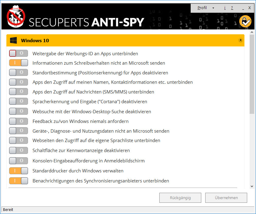 Screenshot 1 - COMPUTER BILD-Spionage-Stopper 2018 (Anti-Spy für Windows 10)
