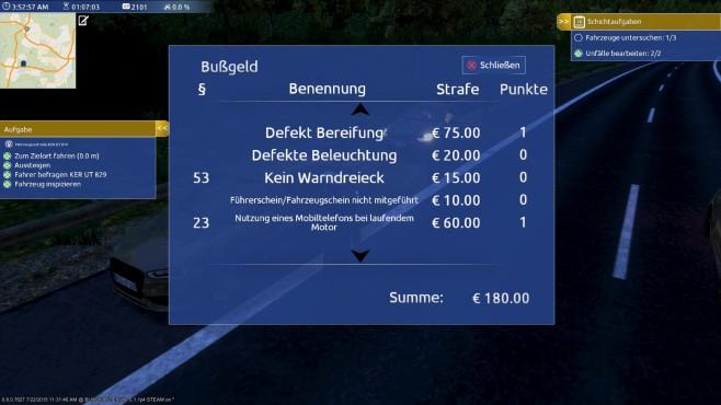 Autobahn-Polizei Simulator 2015: Bußgeld©aerosoft