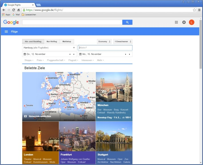 Screenshot 1 - Google Flights