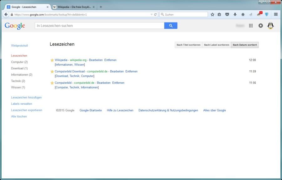 Screenshot 1 - Google Lesezeichen