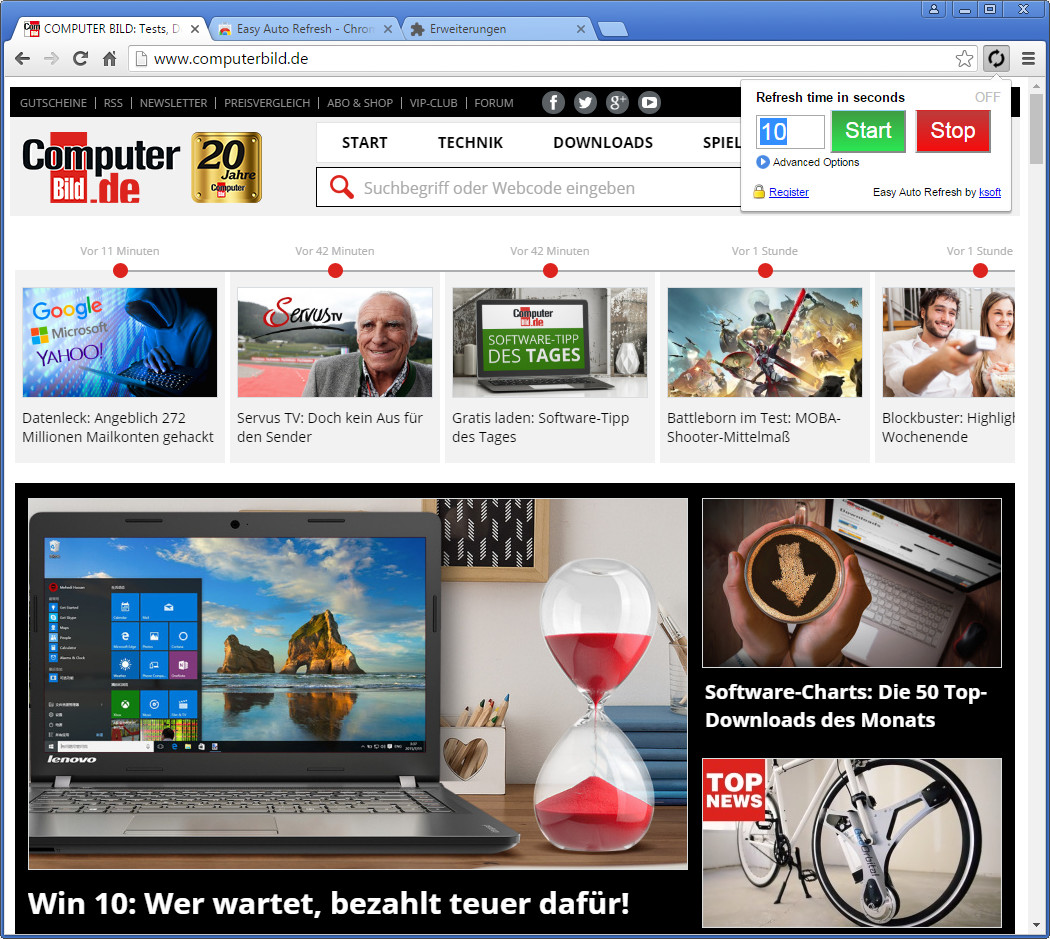 Screenshot 1 - Easy Auto Refresh für Chrome