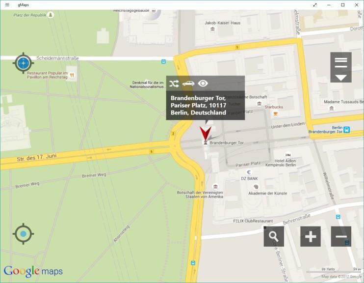 Screenshot 1 - gMaps (Google Maps, App für Windows 10 & 8)
