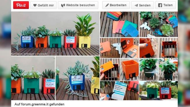 Bunt und nerdig: Kräutertöpfe aus Disketten oder Floppy Disks.©Screenshot: Pinterrest