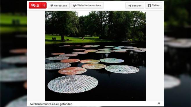CD-Deko für den Gartenteich©Screenshot: Pinterrest