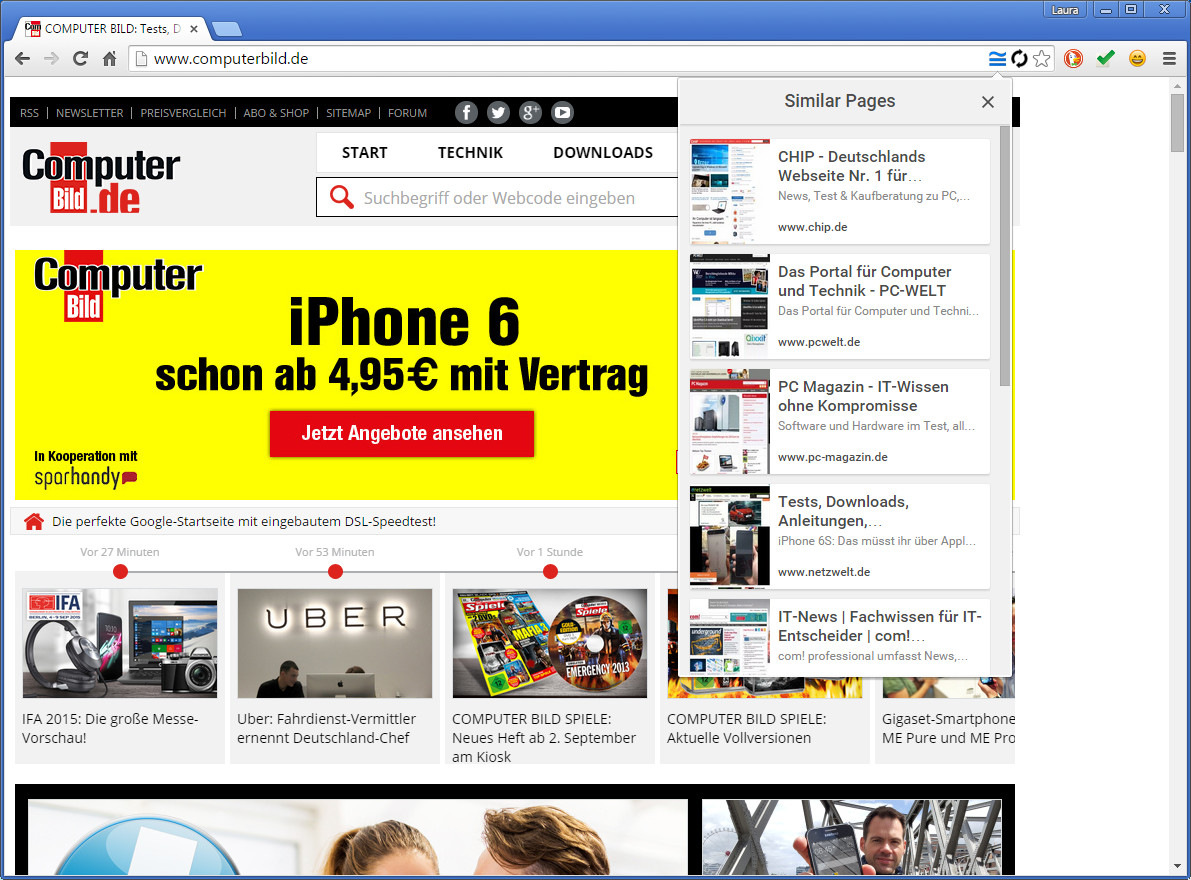 Screenshot 1 - Similar Pages für Chrome