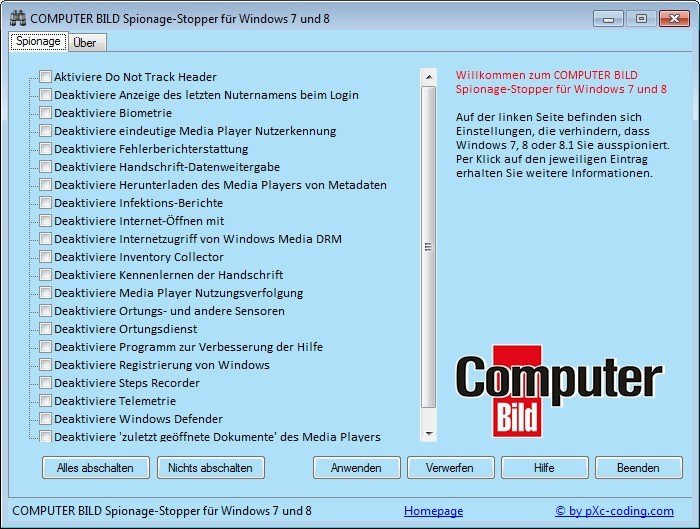 Screenshot 1 - COMPUTER BILD-Spionage-Stopper für Windows 7 und 8