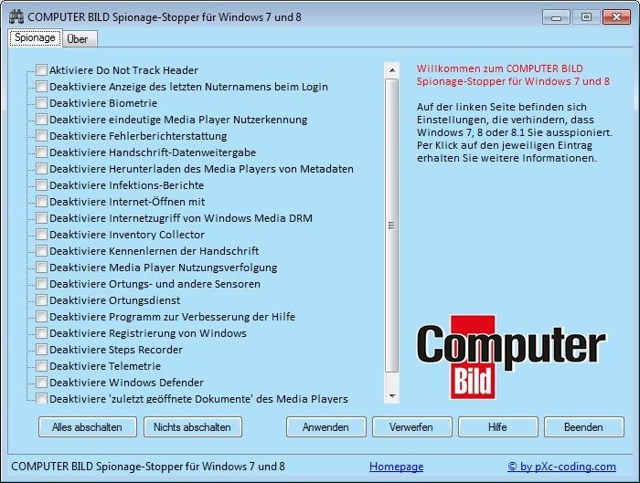 Screenshot 1 - COMPUTER BILD-Spionage-Stopper Portable für Windows 7 und 8