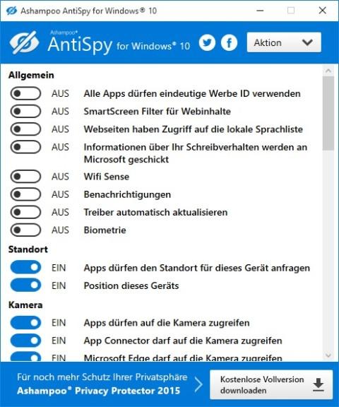 Screenshot 1 - Ashampoo Antispy for Windows 10