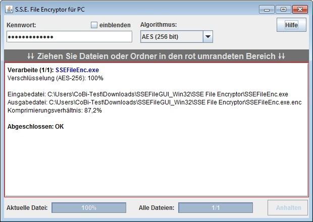 Screenshot 1 - Paranoia File Encryptor for Windows