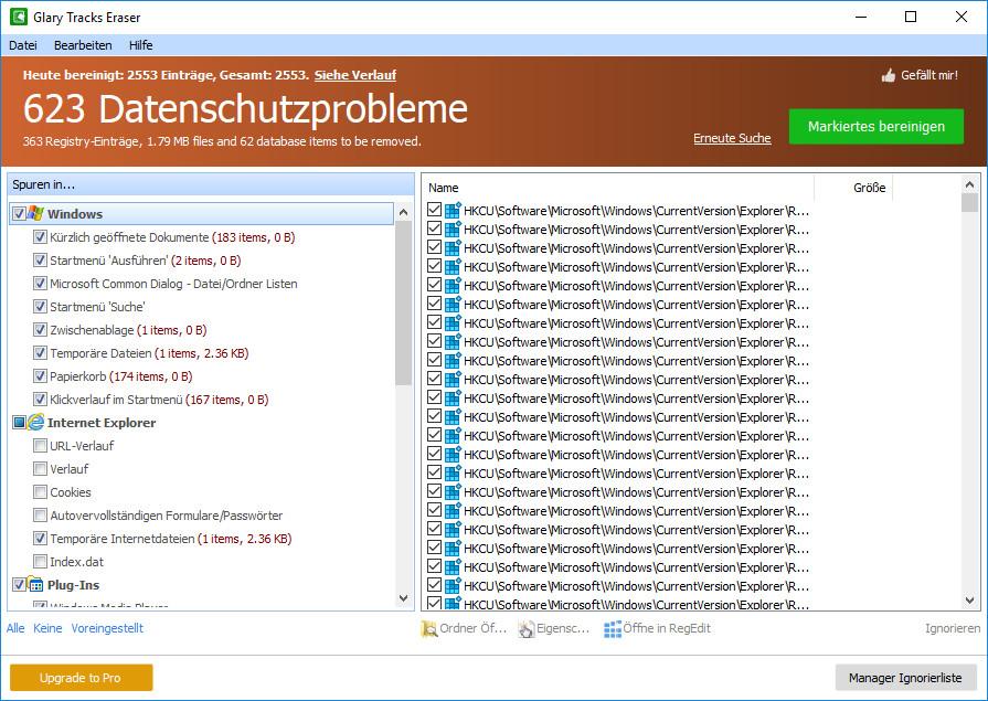 Screenshot 1 - Glary Tracks Eraser