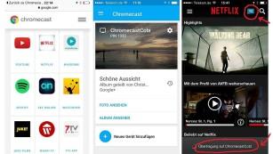 Google Chromecast 2: Neue Optik, schnelleres Starten, mehr Angebote Die Auswahl an Chromecast-tauglichen Apps ist groß (linker Screenshot). Mit dem Chromecast lassen sich Fotos aus Clouds wie Google und Flickr abspielen (Mitte). Streaming-Apps wie von Netflix (rechts) unterstützen ebenfalls die Übertragung auf Chromecast.©COMPUTER BILD
