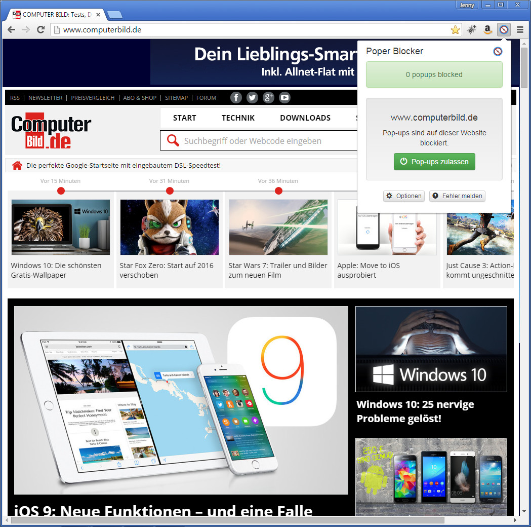 Screenshot 1 - Poper Blocker für Chrome