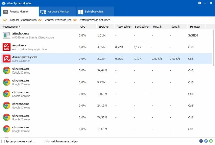 Screenshot 1 - Wise System Monitor