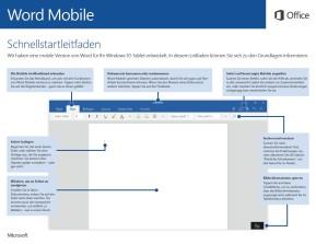 Microsoft Office 2016 für Mobile (Schnellstart-Handbuch als PDF)