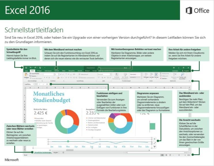 Screenshot 1 - Microsoft Excel 2016 (Schnellstart-Anleitung als PDF)
