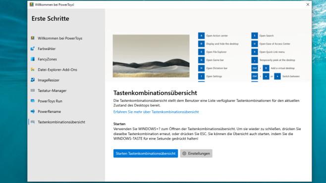 """Windows 10: Die besten Tastenkombinationen für den Alltag Die PowerToys bieten unter anderem die Funktion """"Tastenkombinationsübersicht"""".©COMPUTER BILD"""