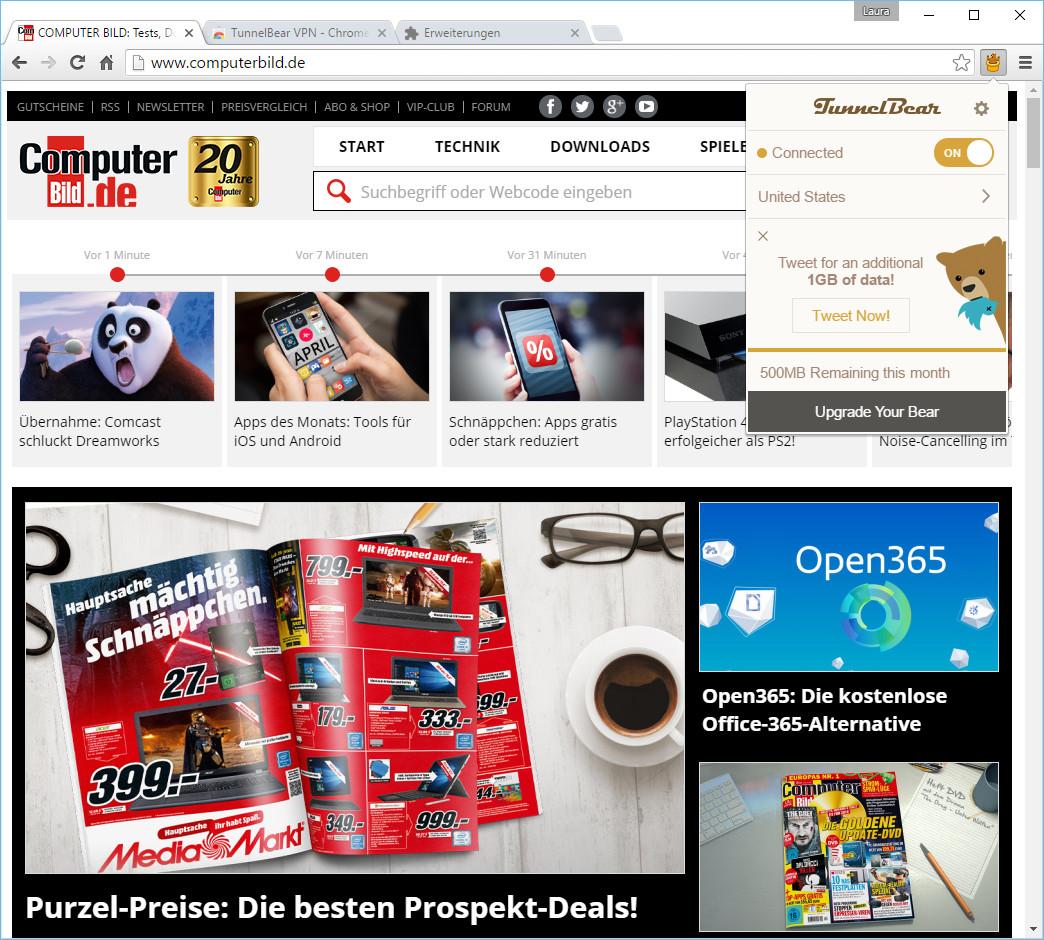 Screenshot 1 - TunnelBear für Chrome