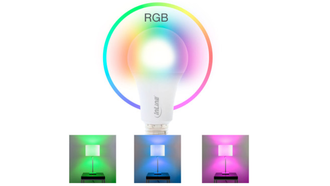 Bunte LED-Lampe strahlt in drei Fraben ©InLine