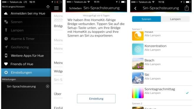 Neu für Philips-Hue-Lampen: Steuerung per Apple Homekit Die iOS App für Hue lässt sich in den Einstellungen mit Homekit verbinden. Anschließend müssen Voreinstellungen für die Lampen einzeln für Siri freigegeben werden.©COMPUTER BILD