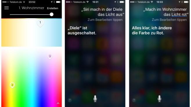 Neu für Philips-Hue-Lampen: Steuerung per Apple Homekit In der Hue App lassen sich die vernetzten Philips Lampen in Farbe und Helligkeit einstellen. Ist die Hue App auf dem iPhone mit Homekit verknüpft, ist auch die Sprachsteuerung per Siri möglich.©COMPUTER BILD