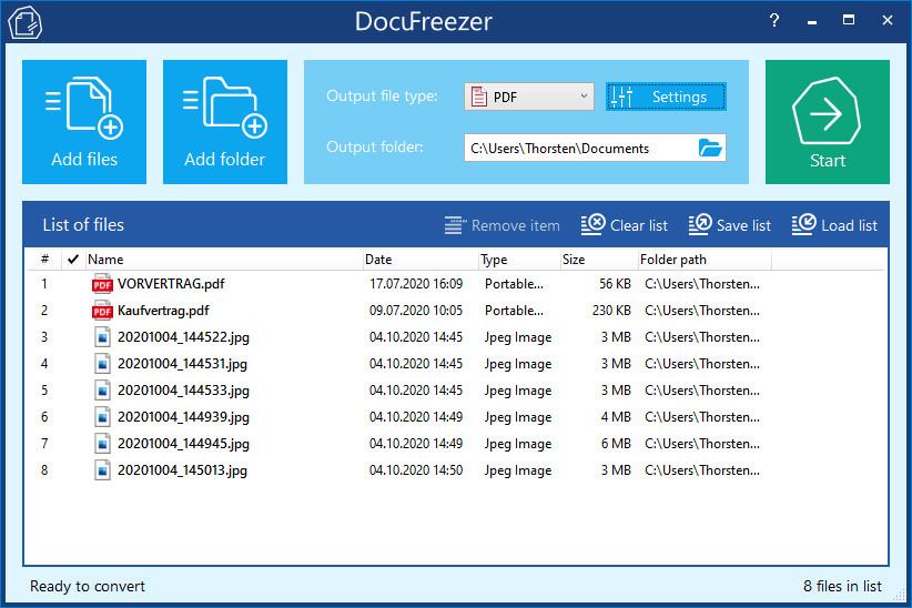Screenshot 1 - DocuFreezer