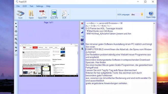 FreeOCR: Texte auf Bildern erfassen ©COMPUTER BILD