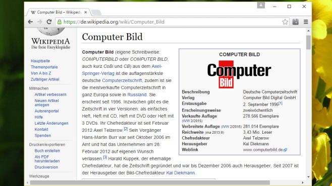 Wikipedia: Wörter blitzschnell nachschlagen ©COMPUTER BILD