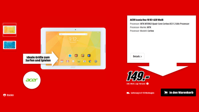 Acer Iconia One 10 B3-A20 ©Media Markt