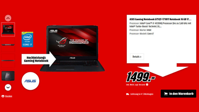 Asus Gaming Notebook G751JT-T7181T ©Media Markt
