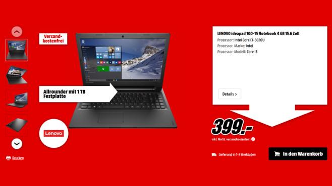 Lenovo IdeaPad 100-15 ©Media Markt